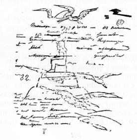 Рисунок Пушкина на рукописи «Осени». 1833.